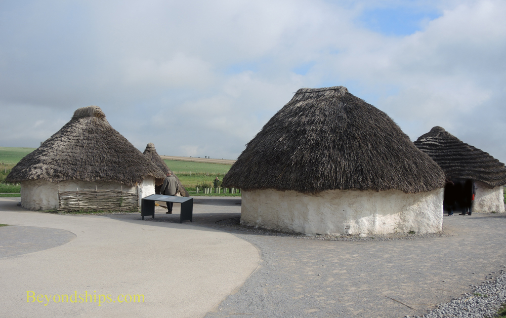 Recreation of the huts used by the builders of Stonehenge.