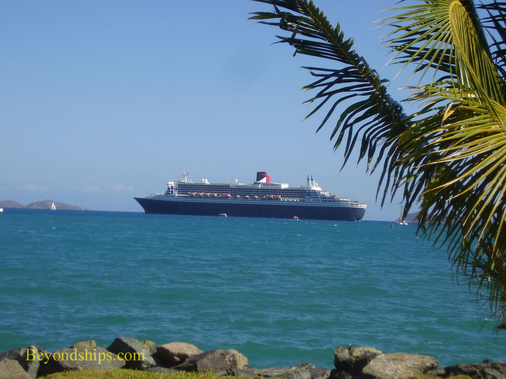 Queen Mary 2 off Tortola