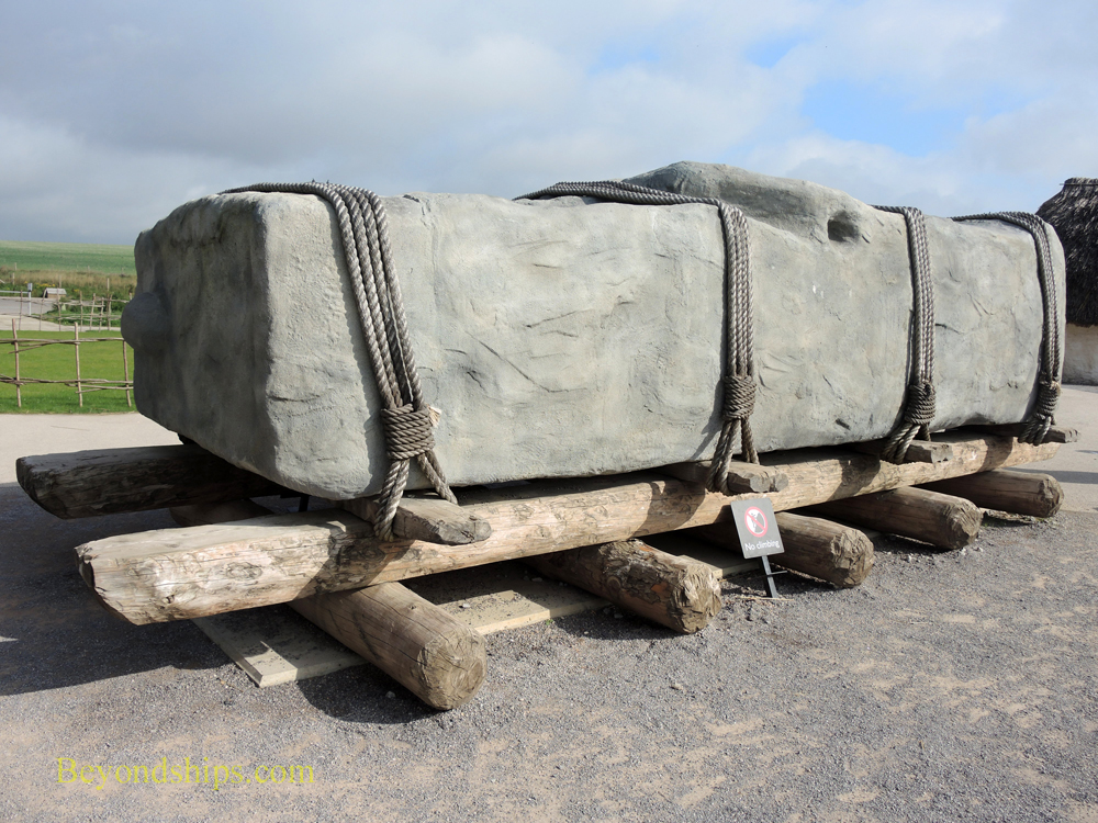 Recreation of method used to transport giant stones to Stonehenge, England