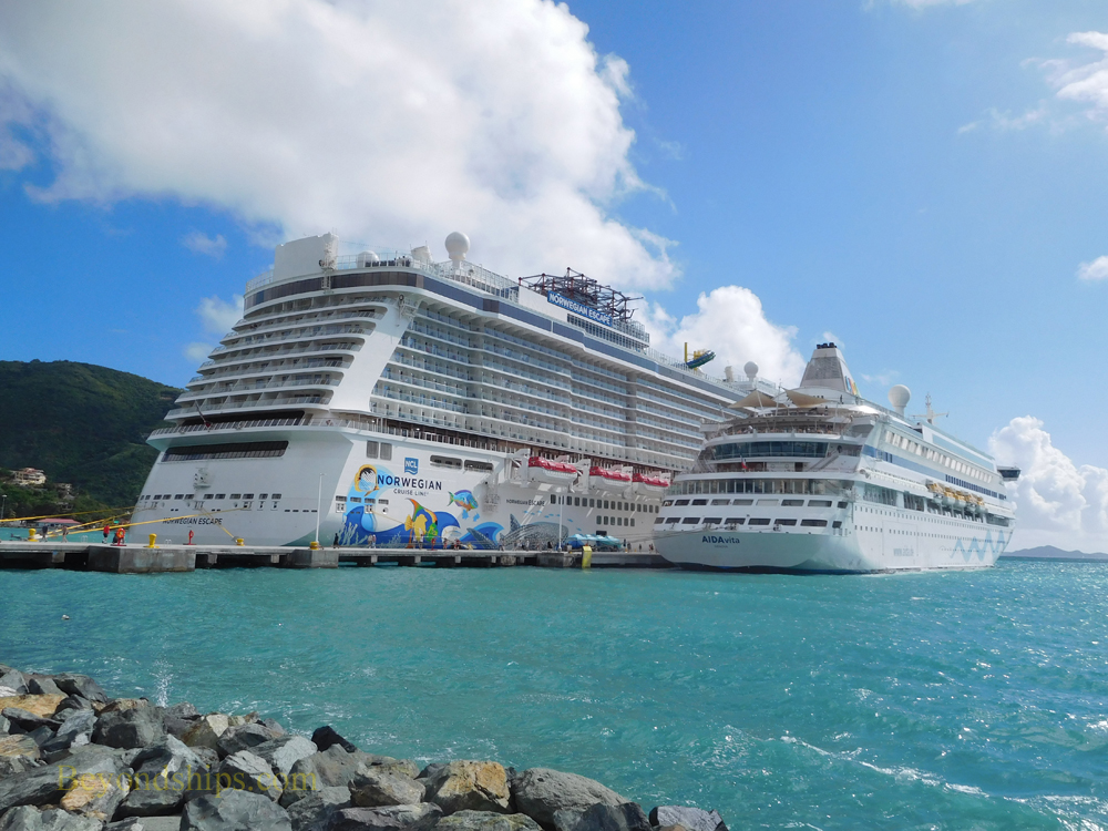 Cruise ships Norwegian Escape and AIDAvita at the cruise pier in Tortola.