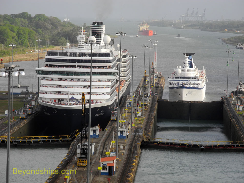 Cruise ships Zuiderdam and Princess Daphane in the Gatun Locks, Panama Canal.