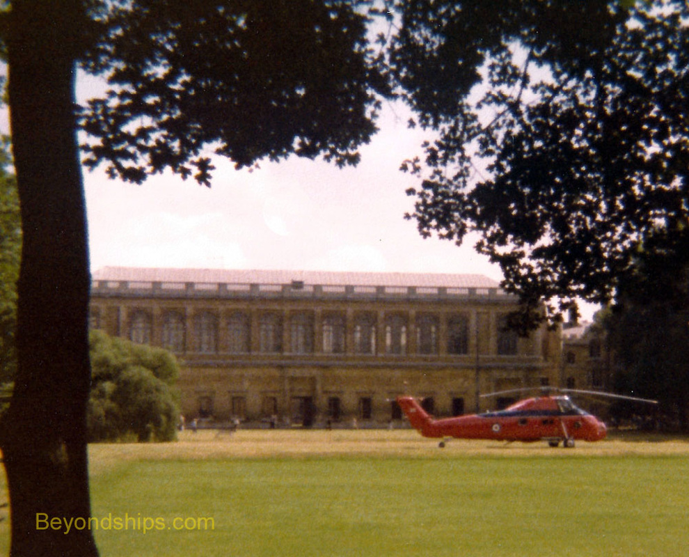 Royal helicopter at Wren Library, Trinity College, Cambridge