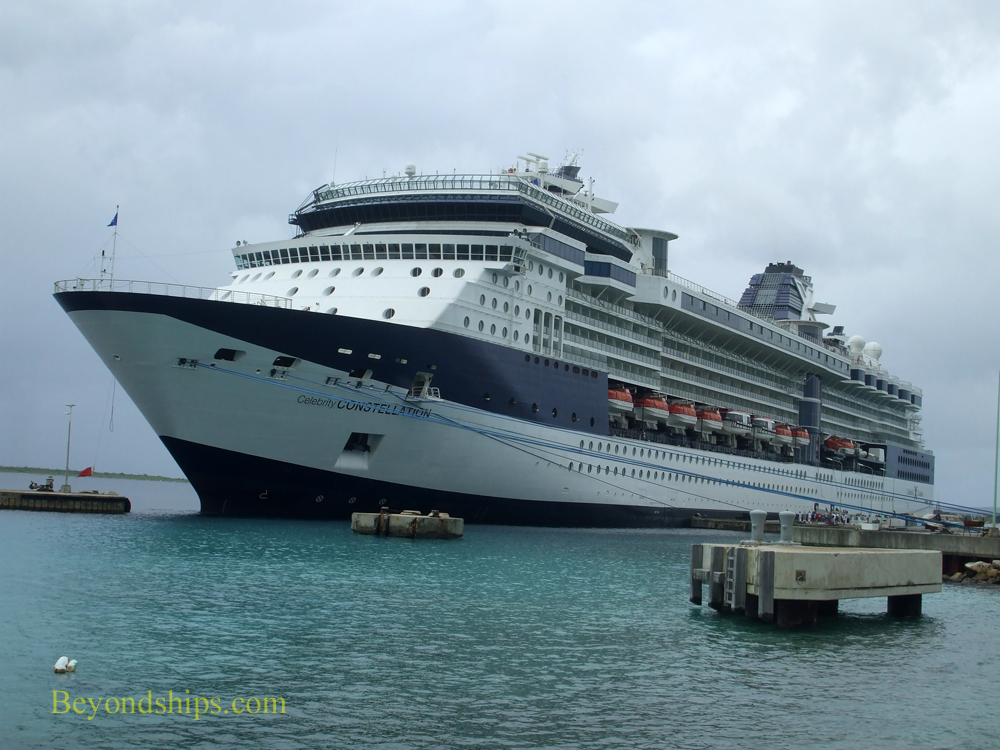 Celebrity Constellation cruise ship docked in Bonairee