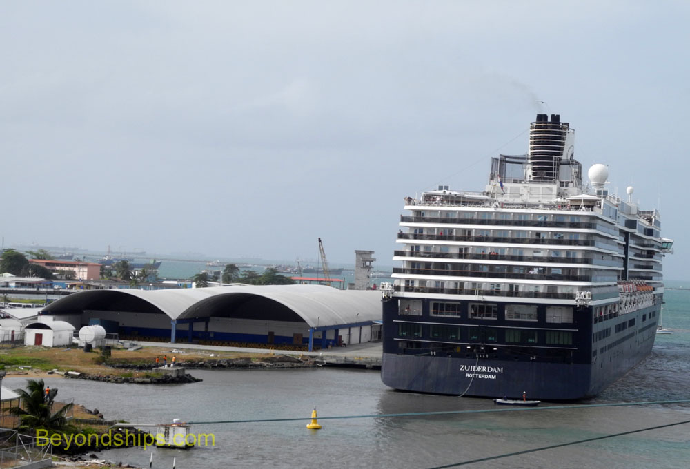 Zuiderdam berthed in the Colon 2000 cruise port.