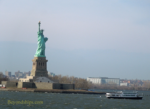The Statue of Liberty and tour boat