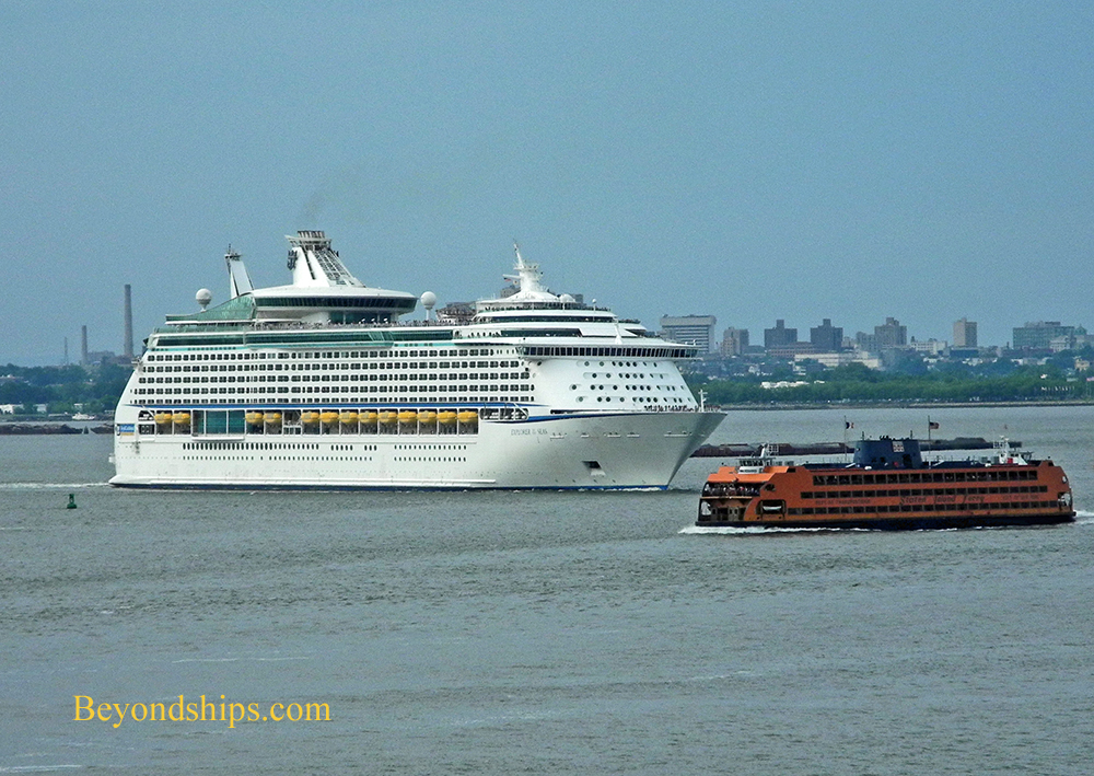 Cruise ship Explorer of the Seas and the Staten Island Ferry