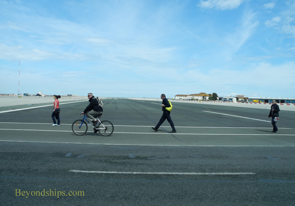 People crossing the runway at Gibraltar airport