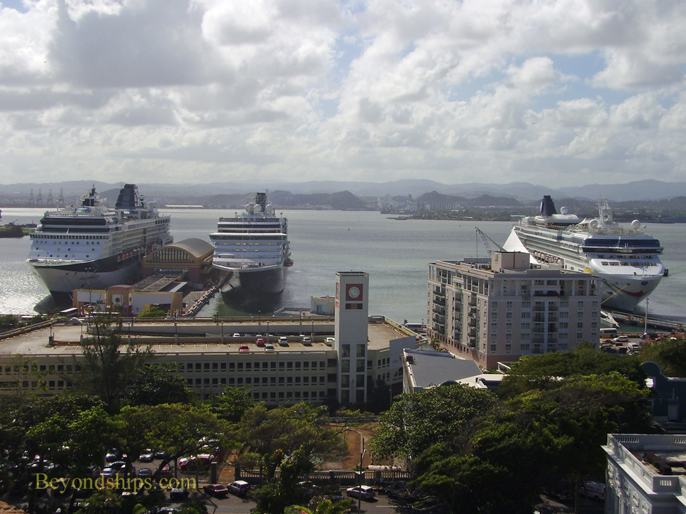 Picture cruise ships seen from San Cristobal, Old San Juan, cruise destination