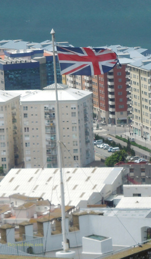 British flag flying over Gibraltar