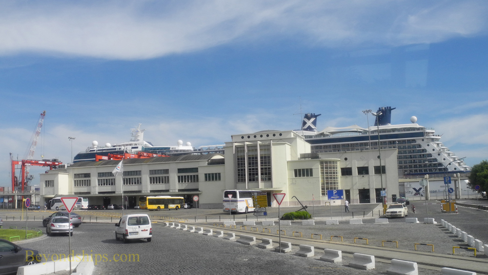 Lisbon Alcantar cruise terminal with Celebrity Eclipse cruise ship