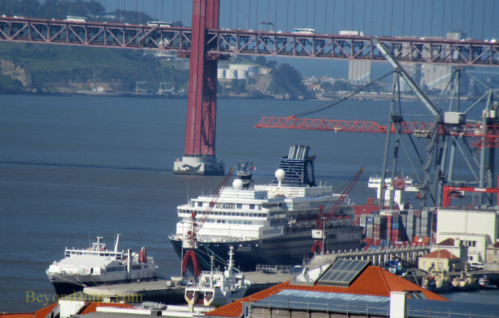 Lisbon Alcantara cruise terminal with cruise ship Horizon