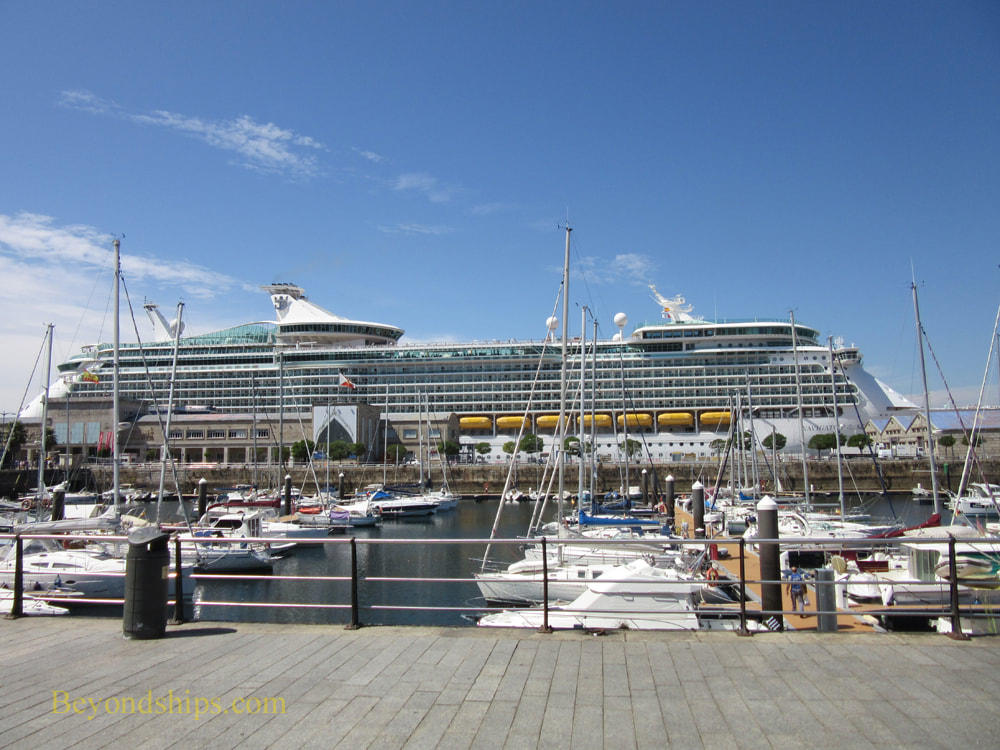 Marina and cruise ship in Vigo, Spain