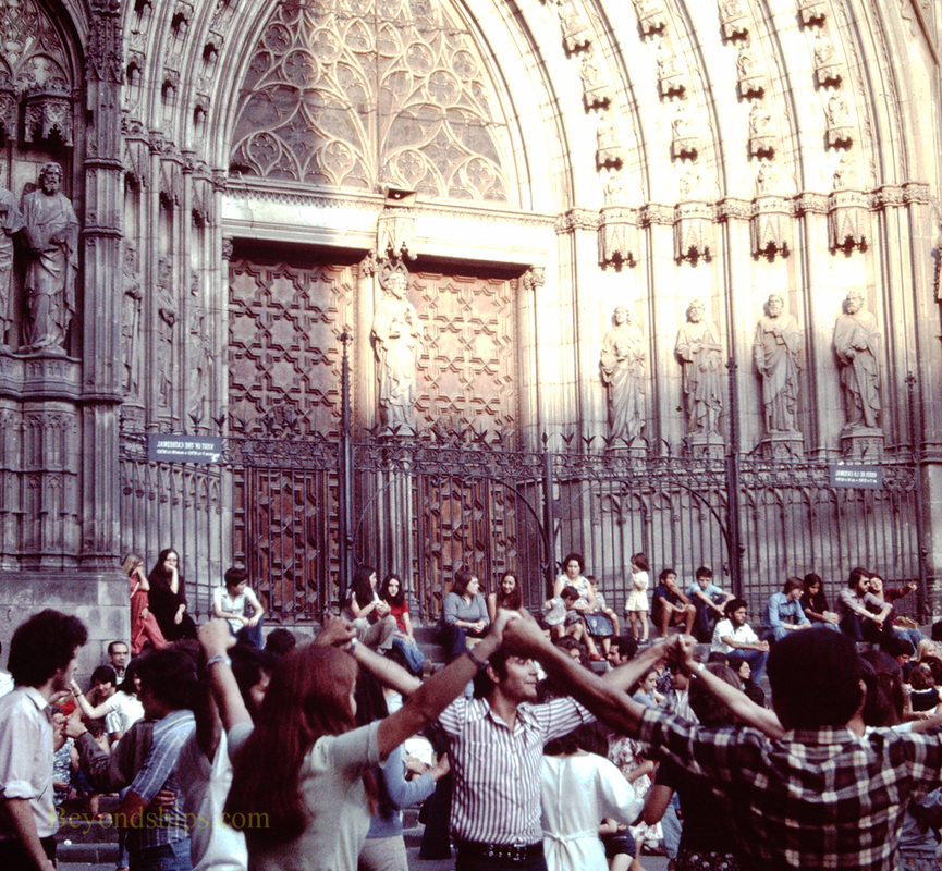 Dancers in front of the Cathedral, Barcelona, Spain