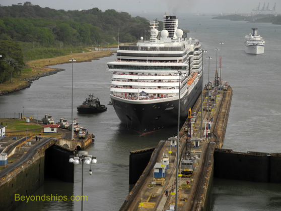 Cruise ship Zuiderdam cruising the Panama Canal