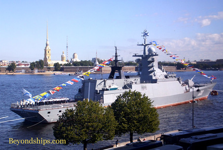 Picture of frigate Steregushcty and Peter and Paul fortress